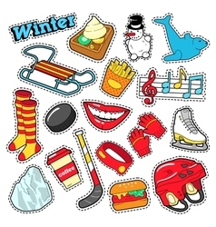 Winter Stickers Badges Patches Decoration vector image vector image