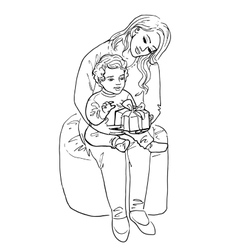 woman and her baby with gift vector image vector image