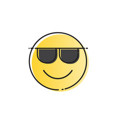 yellow smiling cartoon face wear sunglasses vector image vector image