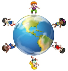 A group of people around the globe vector image vector image