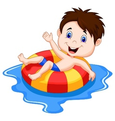 Boy cartoon floating on an inflatable circle in th vector image