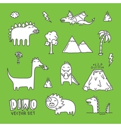 Dino cartoon set white vector image vector image