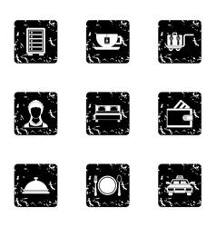 Hostel icons set grunge style vector
