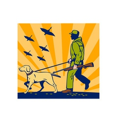 Hunter with rifle walking trained hunting gun dog vector image