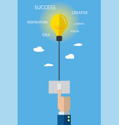 light bulb with switch and business hand vector image