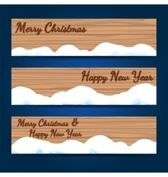 Winter wood horizontal banners template vector image vector image