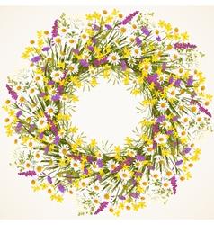 Wreath of wild flower vector image vector image