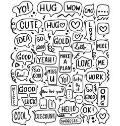 0082 hand drawn background set cute speech vector