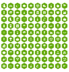 100 pumpkin icons hexagon green vector