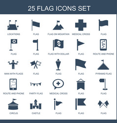 25 flag icons vector image