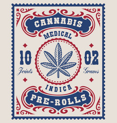 A vintage cannabis label for a package vector