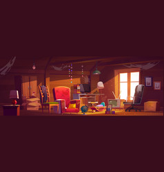 Abandoned attic room with old things spider webs vector