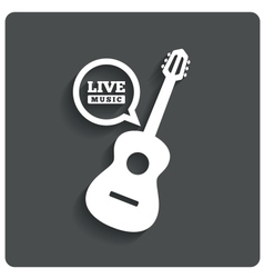 Acoustic guitar icon Live music symbol Flat icon vector