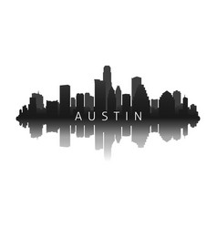Austin skyline in black with reflection vector