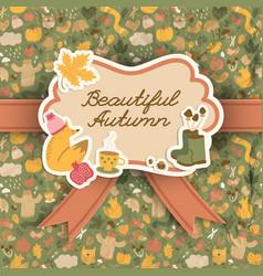 autumn doodle pattern background vector image