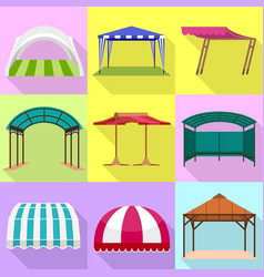 Awning icon set flat style vector