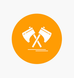 axe hatchet tool cutter viking white glyph icon vector image
