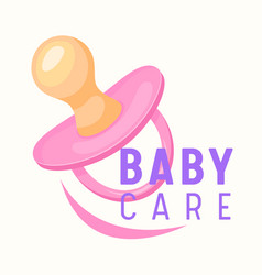 Baby care banner child pink pacifier infant girl vector