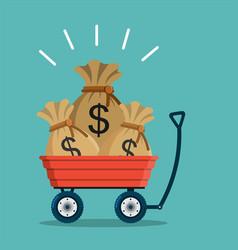 Bag money in a wheelbarrow vector