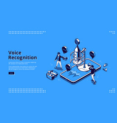banner voice recognition vector image