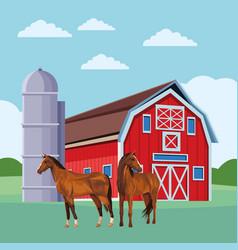 Barn and horses vector