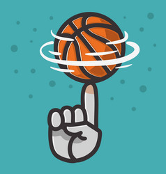 Basketball ball hand spinning finger balance vector