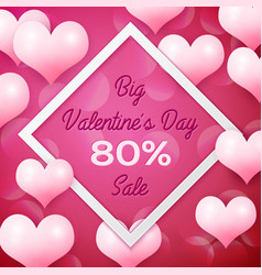 big valentines day sale 80 percent discounts with vector image
