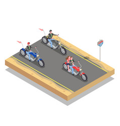 bikers isometric composition vector image