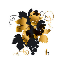 black and gold grape silhouette vector image
