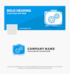blue business logo template for briefcase case vector image
