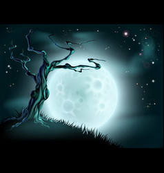 blue halloween moon tree background vector image