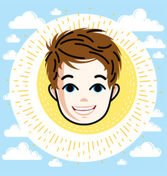 boy face human head character happy red-haired vector image