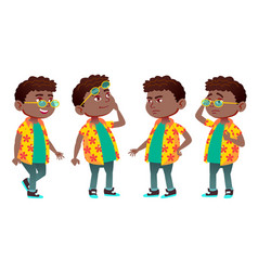 boy schoolboy kid poses set black afro vector image