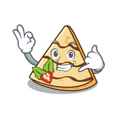 Call me crepe mascot cartoon style vector