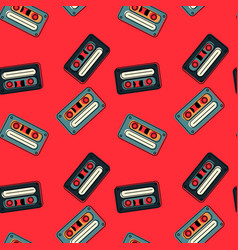 Cassette tapes floating seamless pattern vector