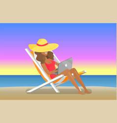 Cheerful working woman distant freelance job vector