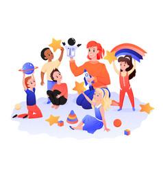 Children playroom kids with teacher play vector