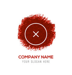 close cancel or delete icon - red watercolor vector image