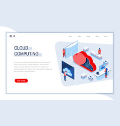 cloud computing isometric landing page vector image