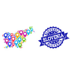 Collage map of slovenia with map markers and vector
