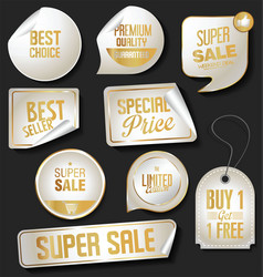 collection of gold and silver banners templates vector image