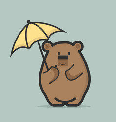 cute bear holding umbrella vector image