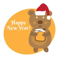 Cute cartoon bear in Santa Claus hat vector image