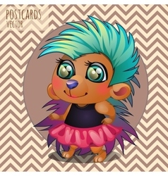 Cute hedgehog girl rocker cartoon series vector