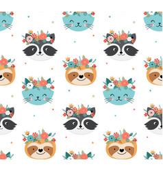 cute racoon cat and sloth heads with flower crown vector image