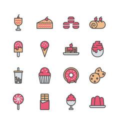dessert icon set in filled color design vector image