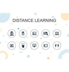 Distance learning trendy infographic template vector