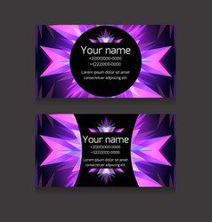 Double-sided neon business card templat vector