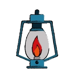 Drawing lamp kerosene old lantern camping vector