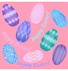 Easter holiday card with colorful eggs flat Happy vector image